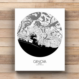 Mapospheres Genoa Black and White  round shape design canvas city map