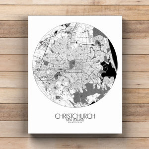 Mapospheres Christchurch Black and White  round shape design canvas city map
