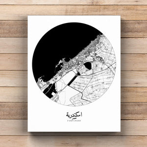 Mapospheres Alexandria Black and White  round shape design canvas city map