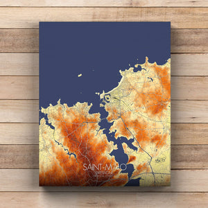 Mapospheres Saint Malo Elevation Map round shape design canvas city map