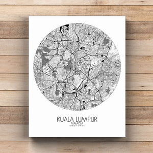 Mapospheres Kuala Lumpur KL Black and White  round shape design canvas city map