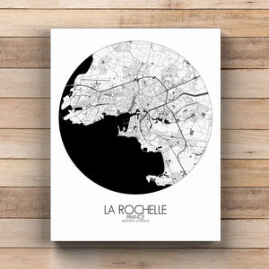 Mapospheres La Rochelle Black and White  round shape design canvas city map
