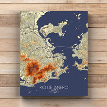Load image into Gallery viewer, Mapospheres Rio de Janeiro Elevation map full page design canvas city map
