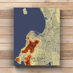 Mapospheres Cape Town Elevation map full page design canvas city map
