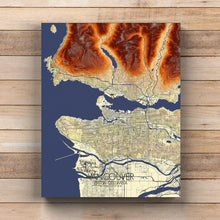 Load image into Gallery viewer, Mapospheres Vancouver full page design canvas elevation map