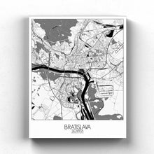 Load image into Gallery viewer, Mapospheres Bratislava Black and White full page design canvas city map