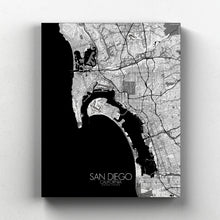 Load image into Gallery viewer, Mapospheres San Diego Black and White full page design canvas city map