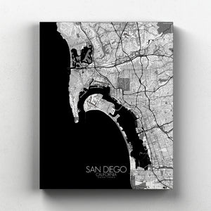 Mapospheres San Diego Black and White full page design canvas city map
