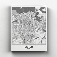 Load image into Gallery viewer, Mapospheres Addis Ababa Black and White full page design canvas city map