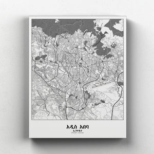 Mapospheres Addis Ababa Black and White full page design canvas city map