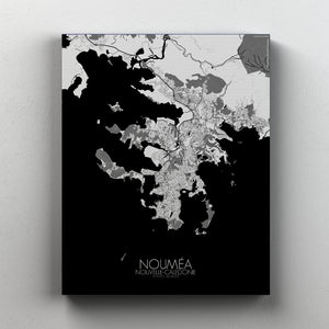 Mapospheres Noumea Black and White full page design canvas city map