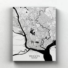 Load image into Gallery viewer, Mapospheres yangon Black and White full page design canvas city map