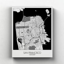 Load image into Gallery viewer, Mapospheres San Francisco Black and White full page design canvas city map