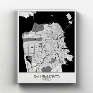 Mapospheres San Francisco Black and White full page design canvas city map