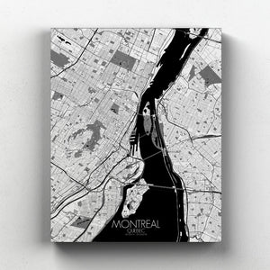 Mapospheres Montreal Black and White full page design canvas city map