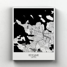 Load image into Gallery viewer, Mapospheres reykjavik Black and White full page design canvas city map