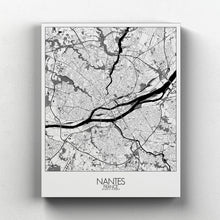 Load image into Gallery viewer, Mapospheres Nantes Black and White full page design canvas city map