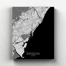 Load image into Gallery viewer, Mapospheres Barcelona Black and White full page design canvas city map