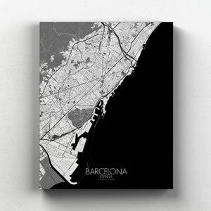 Mapospheres Barcelona Black and White full page design canvas city map