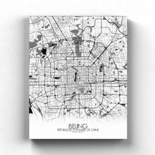 Load image into Gallery viewer, Mapospheres Beijing Black and White full page design canvas city map