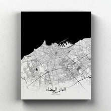 Load image into Gallery viewer, Mapospheres Casablanca Black and White full page design canvas city map
