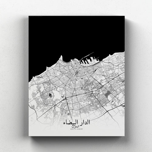 Mapospheres Casablanca Black and White full page design canvas city map