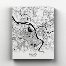 Load image into Gallery viewer, Mapospheres Hanoi Black and White full page design canvas city map