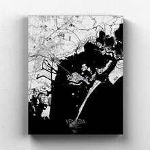 Load image into Gallery viewer, Mapospheres Venice Black and White full page design canvas city map