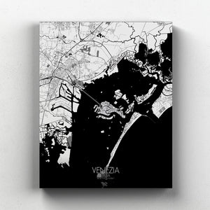 Mapospheres Venice Black and White full page design canvas city map