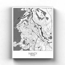Load image into Gallery viewer, Mapospheres Nancy Black and White full page design canvas city map