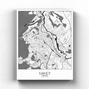 Mapospheres Nancy Black and White full page design canvas city map