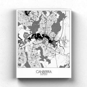 Mapospheres Canberra Black and White full page design canvas city map
