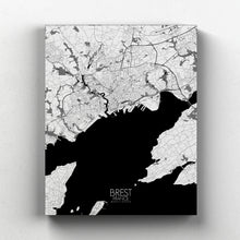 Load image into Gallery viewer, Mapospheres Brest Black and White full page design canvas city map