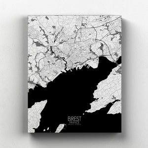 Mapospheres Brest Black and White full page design canvas city map