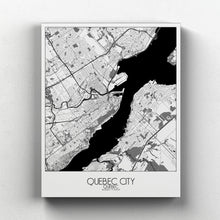 Load image into Gallery viewer, Mapospheres Quebec Black and White full page design canvas city map