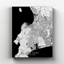Load image into Gallery viewer, Mapospheres Cape Town Black and White full page design canvas city map