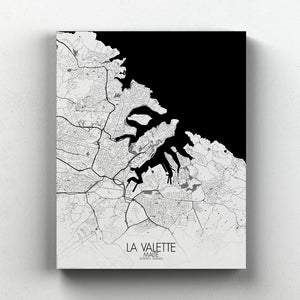 Mapospheres valletta Black and White full page design canvas city map