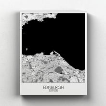 Load image into Gallery viewer, Mapospheres Edinburgh Black and White full page design canvas city map