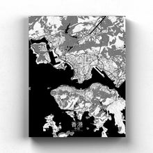 Load image into Gallery viewer, Mapospheres Hong Kong Black and White full page design canvas city map