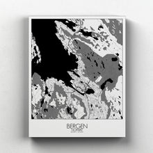 Load image into Gallery viewer, Mapospheres Bergen Black and White full page design canvas city map