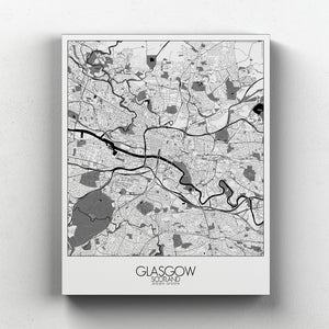 Mapospheres Glasgow Black and White full page design canvas city map