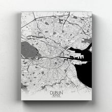 Load image into Gallery viewer, Mapospheres dublin Black and White full page design canvas city map