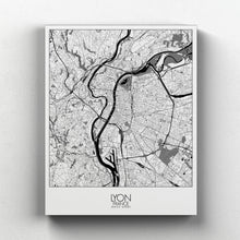 Load image into Gallery viewer, Mapospheres Lyon Night full page design canvas city map