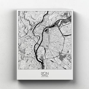 Mapospheres Lyon Night full page design canvas city map