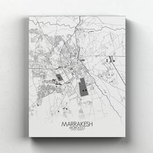 Load image into Gallery viewer, Mapospheres Marrakesh Black and White full page design canvas city map