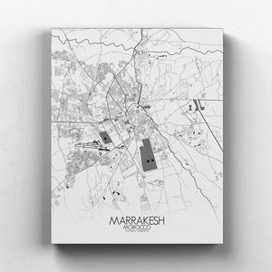 Mapospheres Marrakesh Black and White full page design canvas city map