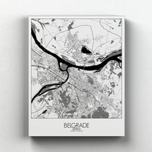 Load image into Gallery viewer, Mapospheres Belgrade Black and White full page design canvas city map