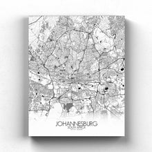 Load image into Gallery viewer, Mapospheres Johannesburg Black and White full page design canvas city map