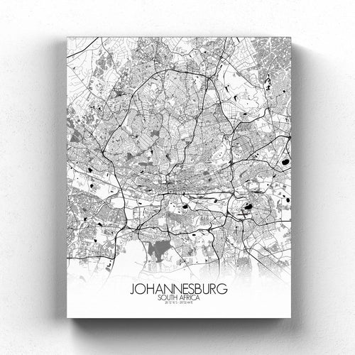 Mapospheres Johannesburg Black and White full page design canvas city map