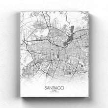Load image into Gallery viewer, Mapospheres Santiago Black and White full page design canvas city map